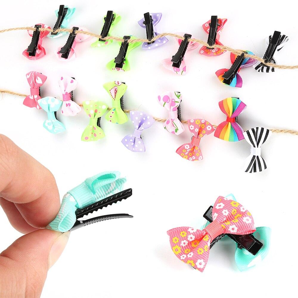 10 шт./лот, хит продаж, заколка для волос ярких цветов с бантом, однотонные/в горошек/с цветочным принтом, заколки для волос для маленьких девочек, детские аксессуары для волос