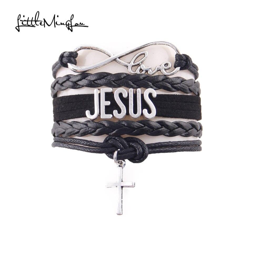 Little minglou pulseira amor jesus infinito, cruz religioso fé envoltório de couro homens pulseiras & braceletes para mulheres jóias