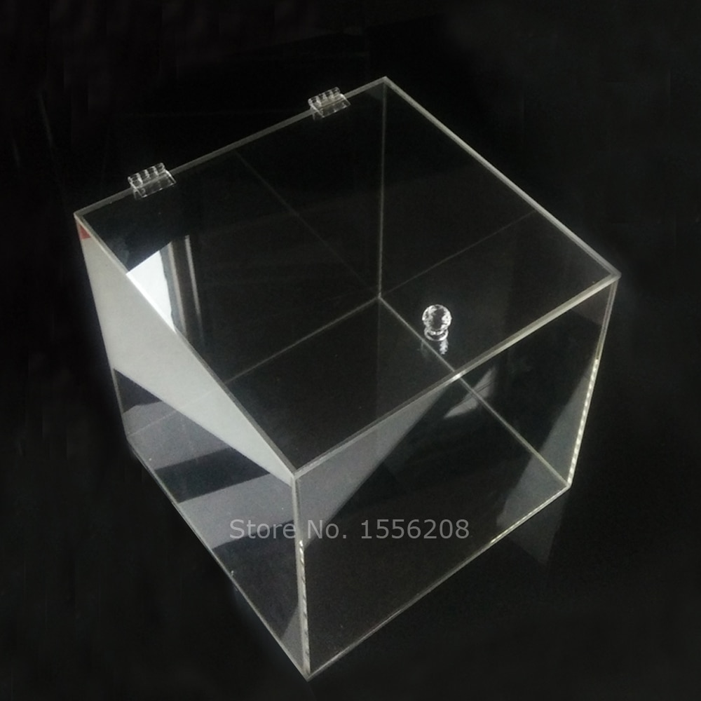 Clear Acrylic Cube Display Box Home Transparent Storage Organizer Cosmetic Makeup Hinged Box