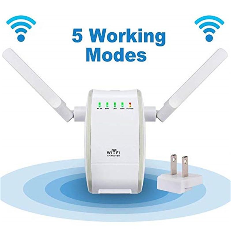 Mini repetidor de señal Wifi inalámbrico de 300Mbps con 2 puertos RJ45, antena Dual con repetidor AP, Router, modos de puente cliente