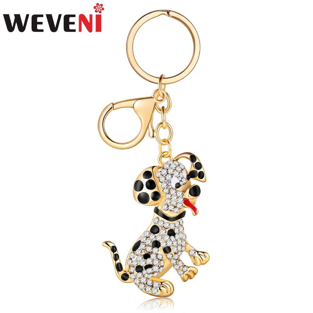 WEVENI Animal Jewelry Alloy Rhinestone Spotty Dog Dalmatian Key Chain Keyring Gift For Women Girl Female Pendant Hot Car Pendant