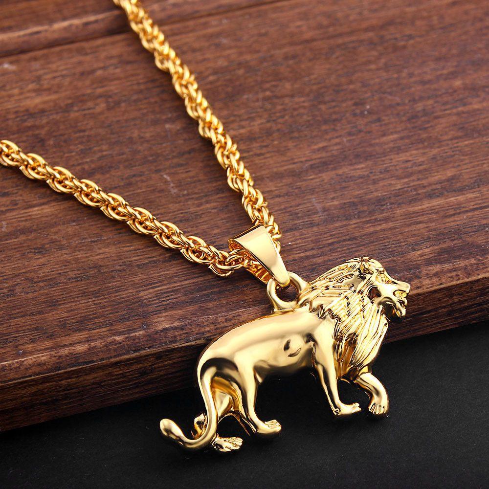 Nova moda liga leão animal pingente colar hip-hop colares de metal longo camisola corrente para homens feminino jóias presentes