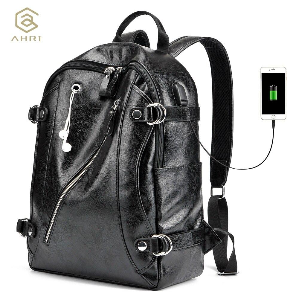 AHRI Nuevo 2017 mochila de hombre de cuero PU bolsos de hombro de hombre de Moda hombre de negocios Casual para escuela chico Vintage negro mochila de los hombres