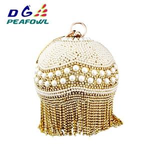 Nen Arrival Diamond Tassel Crystal Pearl materials Silver Wristlets Ball bags Women Round Purse Ladies Wedding Party Clutch