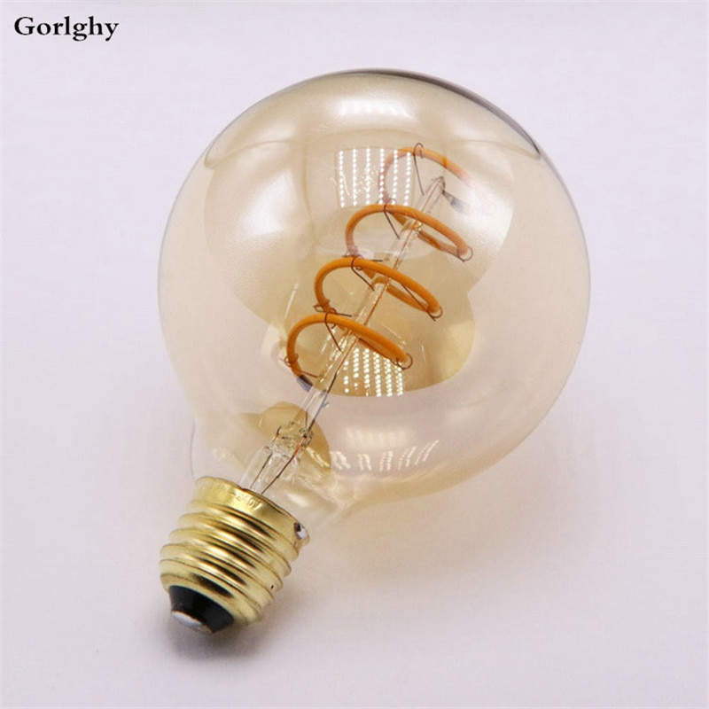 Bombilla LED de filamento Suave 4 Uds. G95 E27 6W, Bombilla Edison con luz con filamento Led en espiral equivalente a 550LM, Color blanco cálido para decoración del hogar