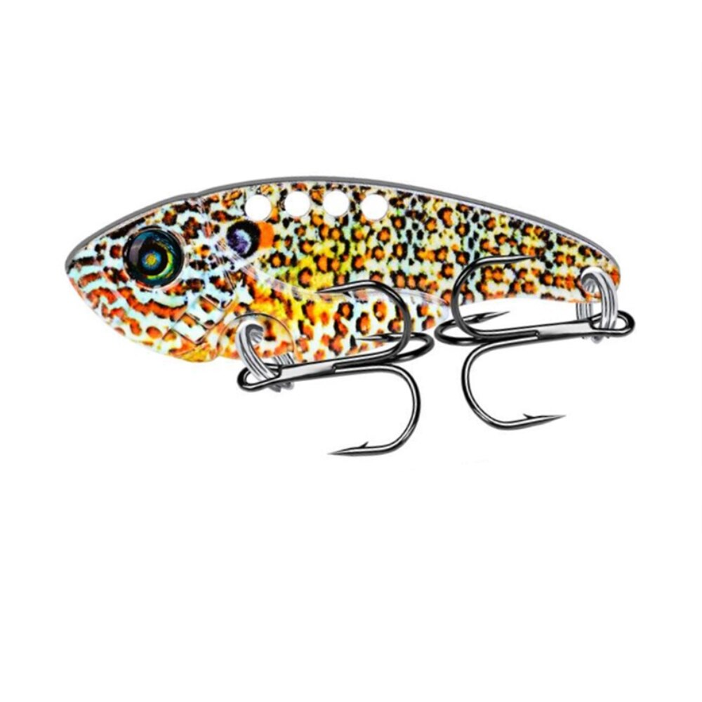 1 unids/lote 5,4 cm 11g Metal cuchara VIB señuelo para pesca Wobbler Crankbait con 2 ganchos agudos VIB cebo bajo Pike señuelo de pesca