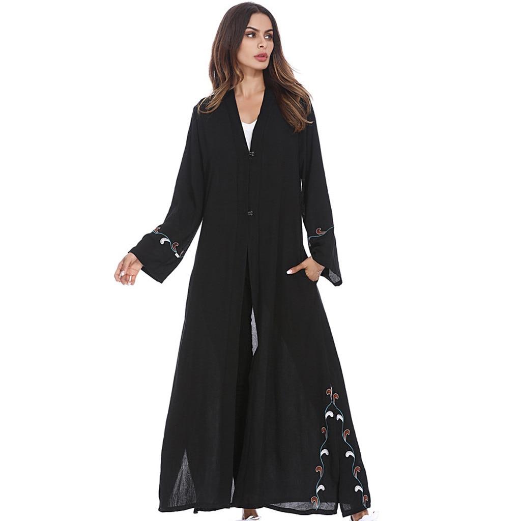 Muslim Women Long sleeve Dubai lace Dress maxi abaya jalabiya Islamic Middle East Solid Long Sleeve Abaya Kaftan Arab Dress 4.11