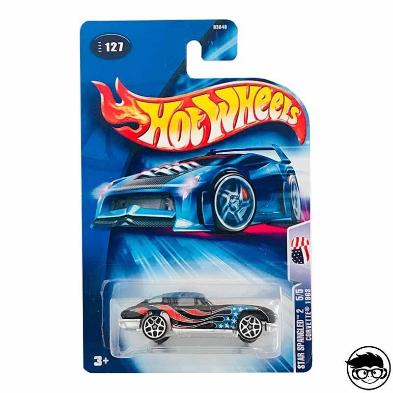 Hot Wheels Star Spangled 2 63 Corvette Collector nº127 2004 long card