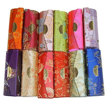 Vintage Empty Lipstick Tube Mirror Mini Jewelry Case Chinese Silk Brocade Lip Balm Box Packaging Lip Gloss Container 12pcs/lot