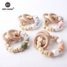 Anneau de dentition en bois et hêtres Make   Bracelet en bois pour bébé, personnalisé, nom, matériaux de qualité alimentaire, produits de dentition en bois pour bébé
