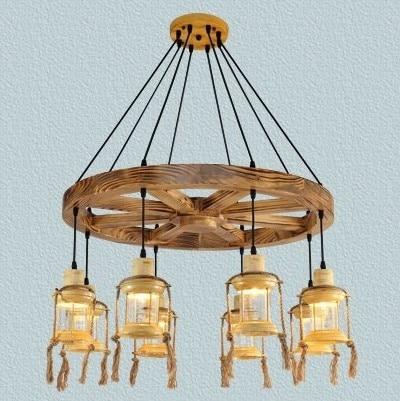 Antique Wooden Iron Pendant Chandelier Lamp Vintage Cafe Restaurant Bar Creative Personality Rural Pilot Pendant Bar Droplight