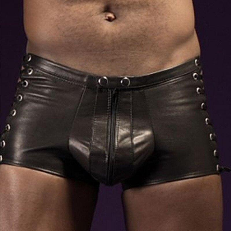 Sexy lingerie quente dos homens látex pvc bondage aberto virilha leggings shorts fetiche gótico gay falso couro rendas até calças curtas clubwear