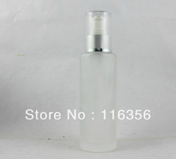 100ML  frosted glass  bottle with matt  silver press pump