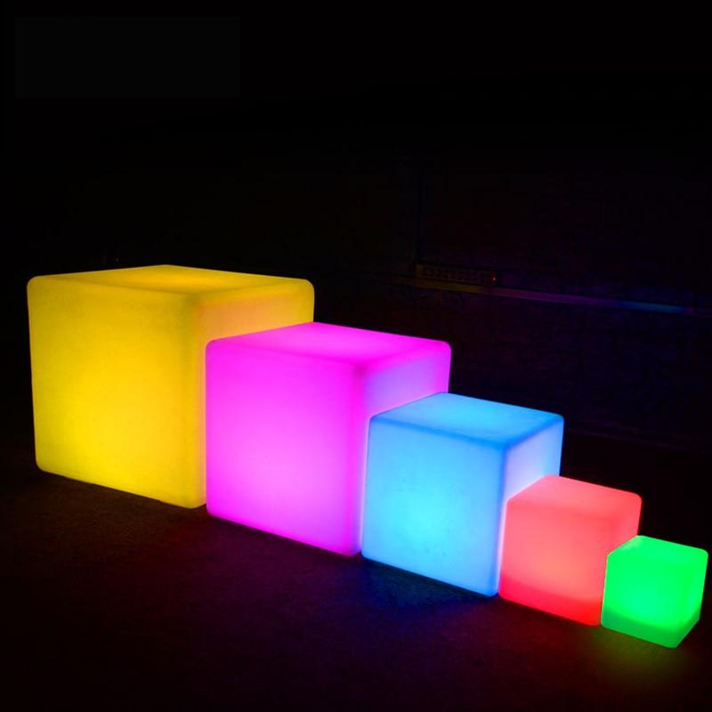Ao ar livre à prova dwaterproof água cubo cadeira recarregável led night light rgb lâmpadas de controle remoto mesa bar piscina cafe ktv decoração do hotel iluminação