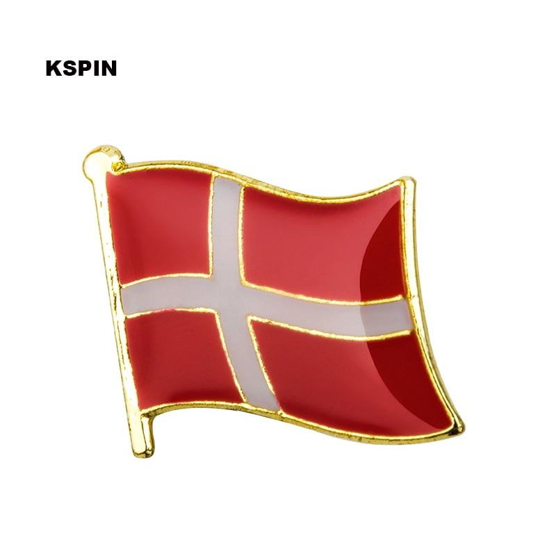 Dinamarca país bandeira de metal lapela pino emblemas para roupas broches para feminino/masculino emblemas para mochilas KS-0048