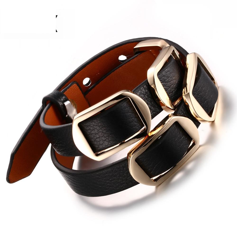 2018 venta limitada, pulseras y brazaletes Bileklik, joyería Vnox para hombres y mujeres, brazalete cruzado de cuero genuino Vintage ajustable