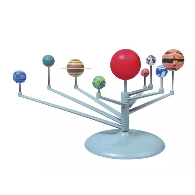 Juguetes del sistema Solar de simulación 3D DIY modelo de nueve Escala de planetas juguetes educativos de aprendizaje de ciencia modelo de enseñanza de los nueve planetas