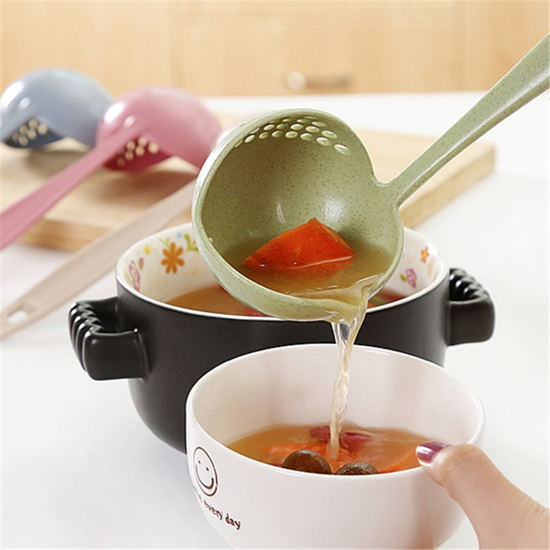 Accesorios de cocina Gadgets 2 en 1 cuchara de sopa de colador de verduras de mango largo cuchara de melón de plástico utensilios de cocina, Q