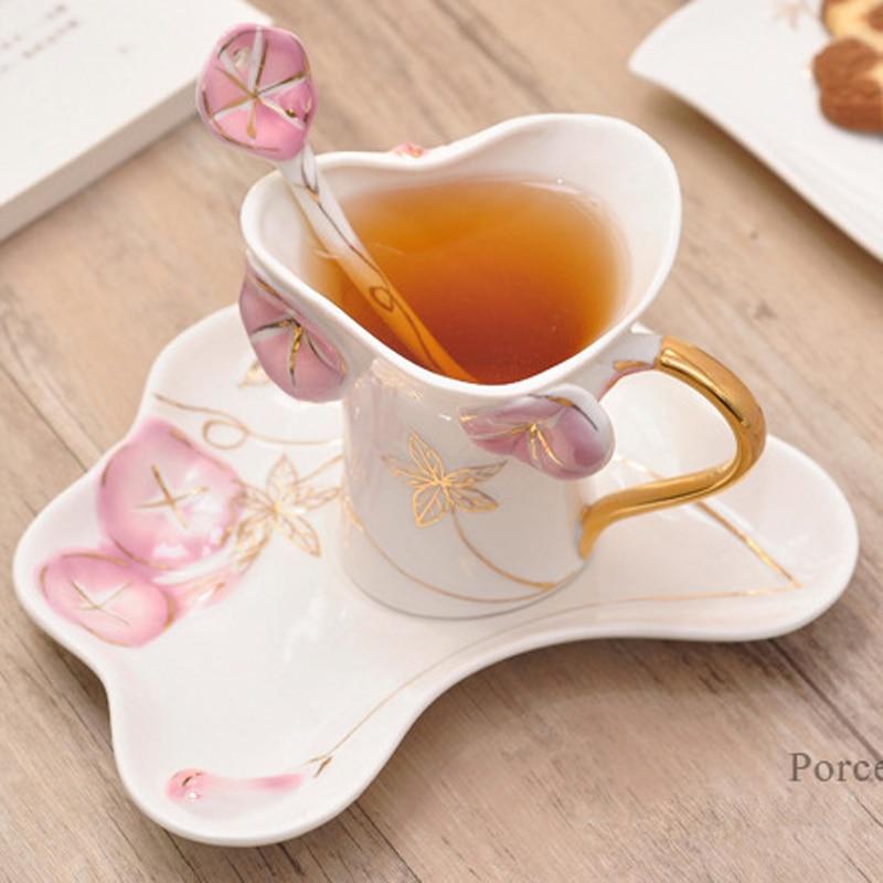 2017 Morning glory Pattern Набор чашек для кофе и чая с ложкой и поддоном Термостойкие чашки для пар креативный подарок питьевые инструменты