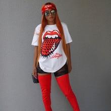 Causal Women Summer T-shirt Hip Pop Red Tongue Printing Female Long Top