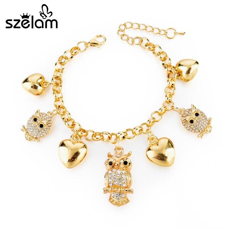Szelam cristal coruja pingente pulseira feminino coração amor charme pulseiras para mulheres ouro jóias pulseras sbr160024