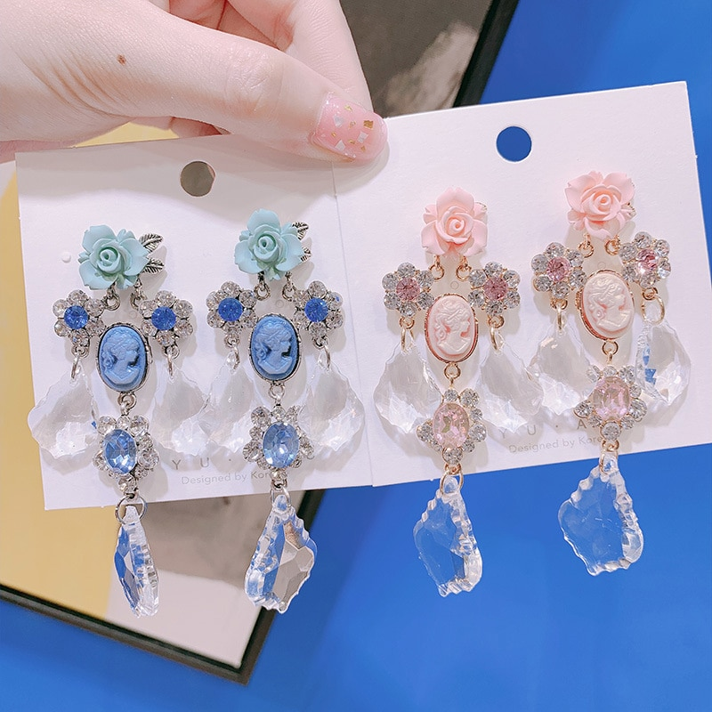 Coreano retro barroco acrílico retrato flor transparente gelo cristal pingente brincos hipoalergênicos