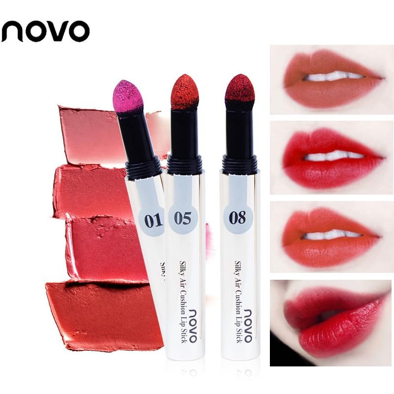 Novo bite Maquillaje Brillo de labios colchón de aire lápiz labial lápiz impermeable de larga duración sexy rojo desnudo terciopelo tatuaje para labios de acabado mate pluma BN002