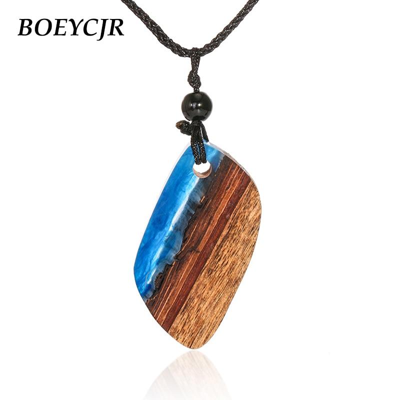 BOEYCJR океан и пляж натуральное дерево и Смола ожерелье Модные украшения новый дизайн ожерелье ручной работы для женщин или мужчин подарок