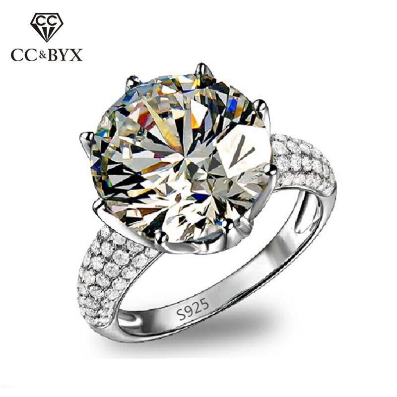 خواتم كبيرة من الذهب الأبيض عيار 8 قيراط للنساء ، خاتم خطوبة مرصع بأحجار الزركونيا AAA ، CC064