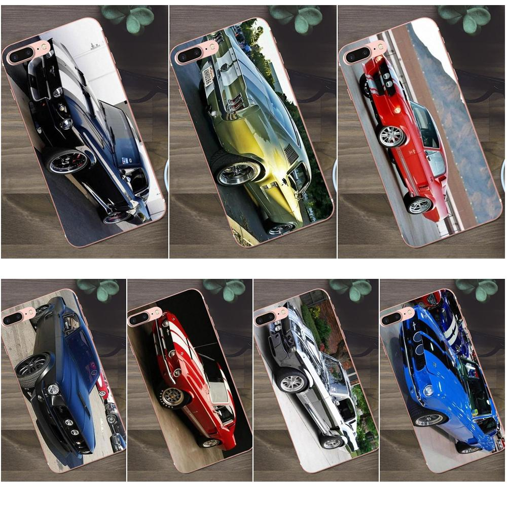 Bixedx para Huawei G8 Honor 5C 5X 6 6X 7 8 9 Y5II Mate 9 P7 P8 P9 P10 P20 Lite Plus 2017 dibujo de arte suave 1967 Mustang Shelby Coche