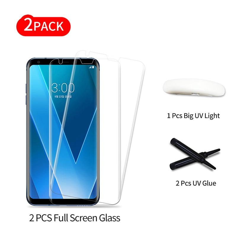 Полностью клеящаяся пленка из закаленного стекла для полного покрытия экрана LG V30 3D UV Light Liquid Sceen Защитная пленка для V30 Plus 3D стеклянная пленка