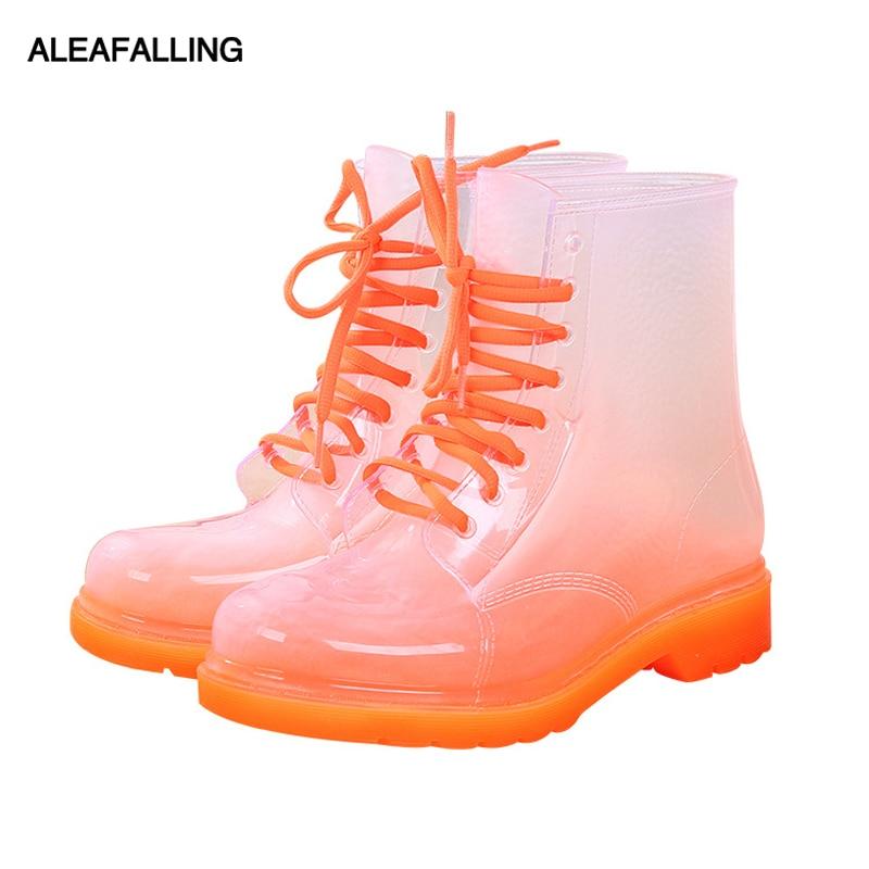 Aleafalling, Botas de lluvia para mujer, zapatos de señora madura con cordones, zapatos de mujer impermeables, Color caramelo transparente, botines para chica al aire libre, AWBT41