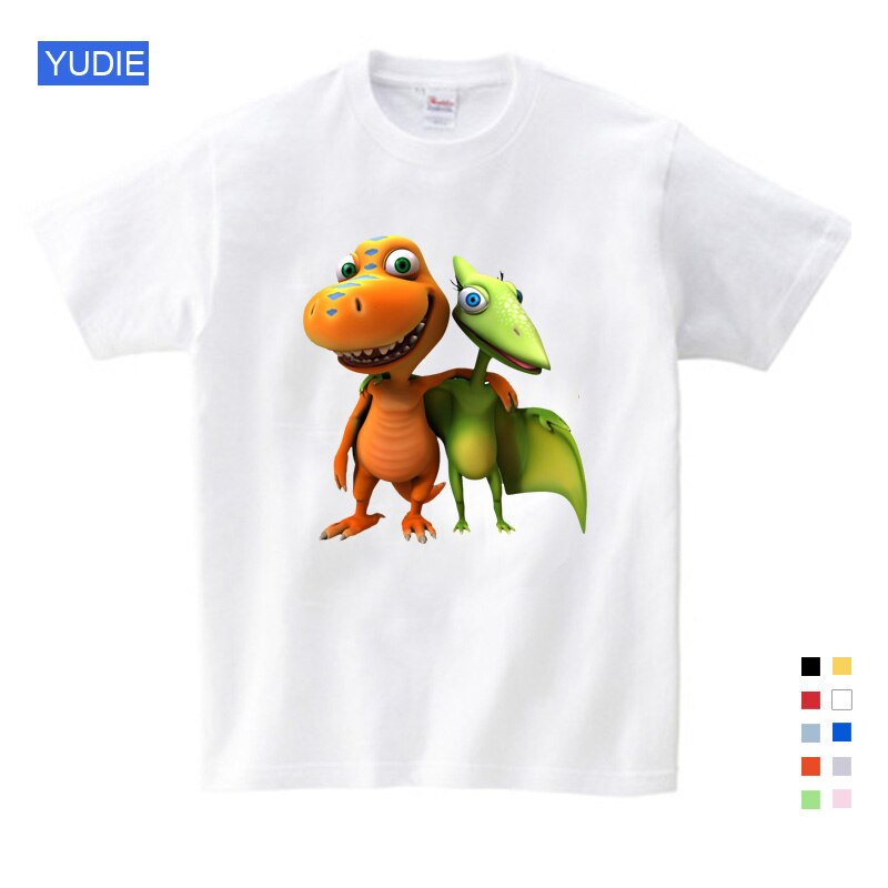 Children Summer Clothes Cartoon Dinosaur Letter Printing 100% Cotton T-shirt Tops Shirts T Shirt Child