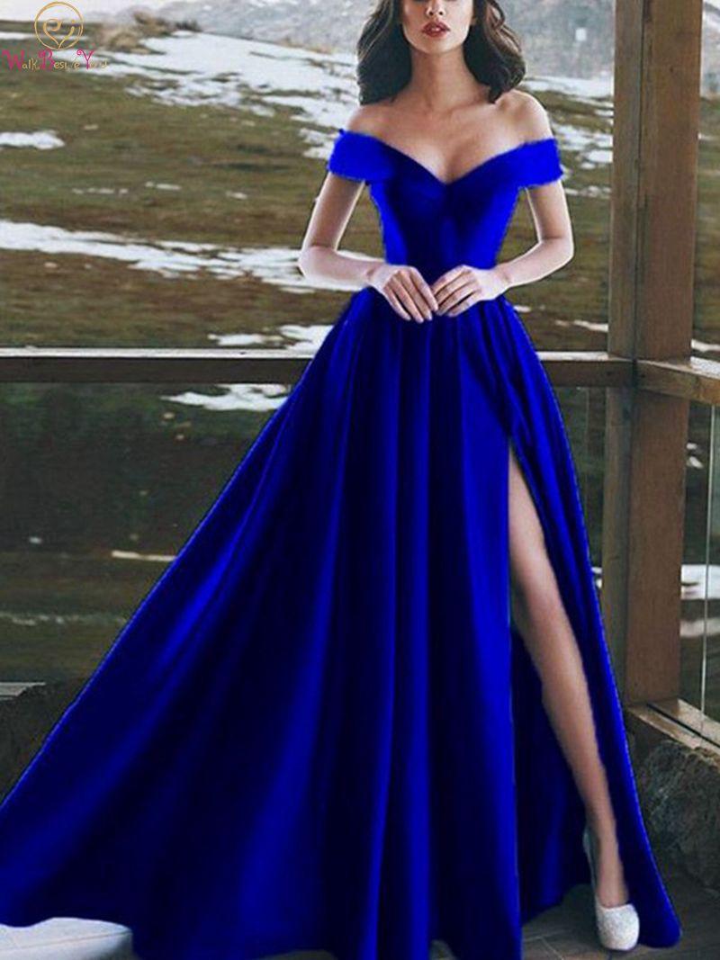 فستان سهرة ساتان أزرق ملكي ، مثير ، ياقة على شكل V ، طويل ، أكتاف عارية ، طول الأرض ، شق ، حفلة موسيقية ، فستان رسمي
