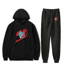 Anime Fairy Tail Hoodie Pants Set plus size Pullover Harajuku elastic trousers men women hooded sweatshirt casual clothing