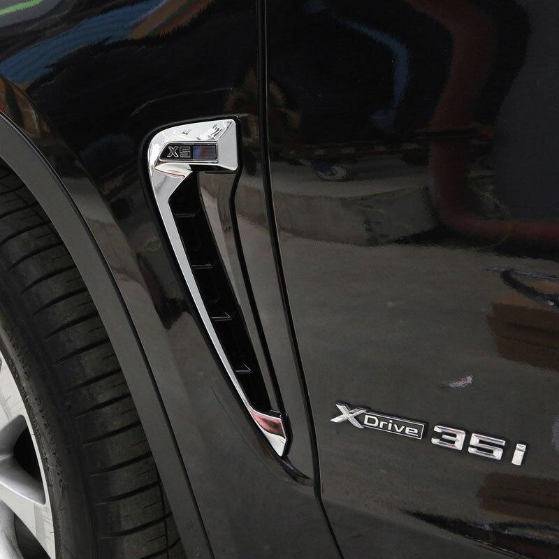 Для BMW X5 F15 2014 2015 2016 2017 автомобильный Стайлинг ABS хромированный боковое крыльев, направляющих воздуха вентиляционные отверстия рамка отделка Аксессуары