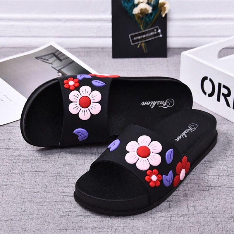 2019 zapatillas de mujer de moda de verano lovely Ladies Casual Slip On Beach chanclas slide Mujer Zapatos de interior Flower TUX3