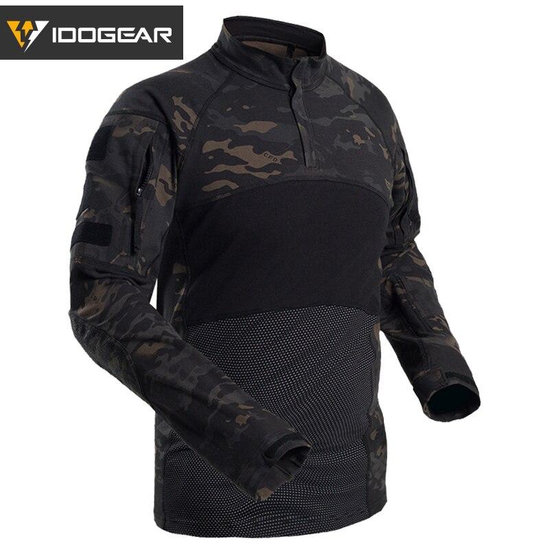 IDOGEAR Tactical Hemd Langarm Top Camo Airsoft Outdoor Sport Combat Shirt Schwarz MultiCam Camo 3105