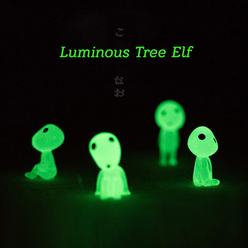 5pcs Princess Mononoke Mini Luminous Tree Elves Hayao Miyazaki Micro Landscape Cute Resin Decoration Cartoon Toy Birthday Gifts