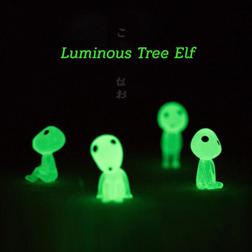 5pcs Princess Mononoke Mini Luminous Tree Elves Hayao Miyazaki Micro Landscape Cute Resin Decoration Cartoon Toy Birthday Gifts