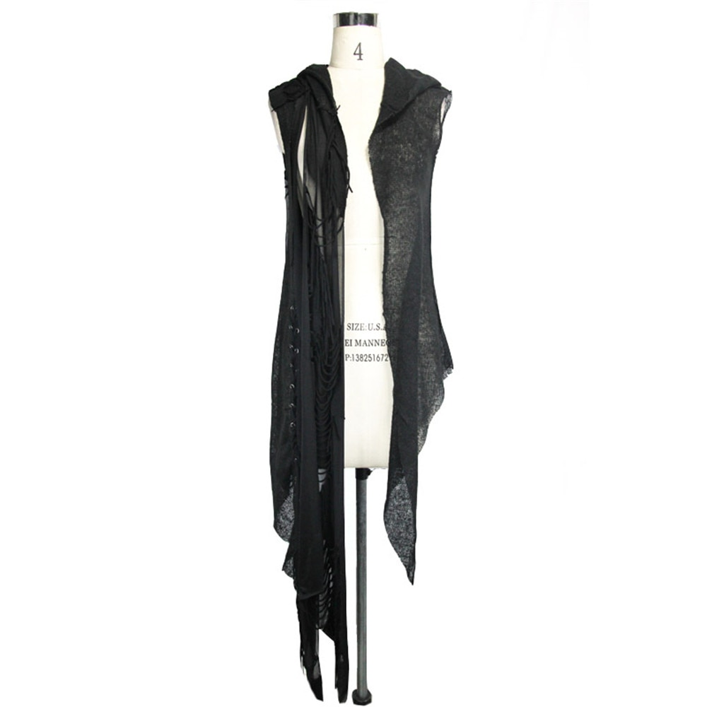 Devil Fashion Women Black Cappa Gothic Hooded Sleeveless Capes Steampunk Casual Amice Pashmina