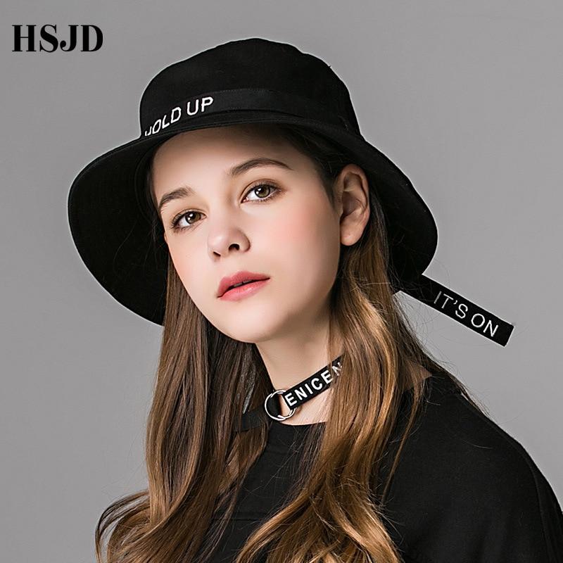 2018 Fashion K POP Long Belt Fisherman Hat Letter HOLD UP Cotton Bucket Hats Unisex Hip Hop Fishing Cap outdoor black sun hat