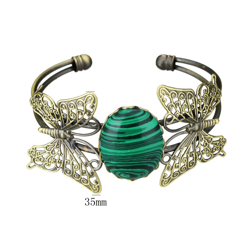 YYW mujer rosa Natural piedra brazalete de brazalete abierto pulseras étnico Vintage mariposa Animal de cristal ópalo, cuarzo piedra brazalete de brazaletes