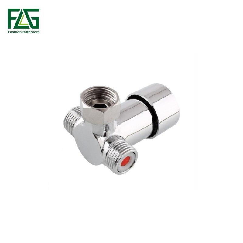 "Válvula mezcladora FLG de latón fundido cromado en frío y caliente, válvula mezcladora termostática G1/2 "", agua fría caliente para grifo con Sensor de Solo Frío"