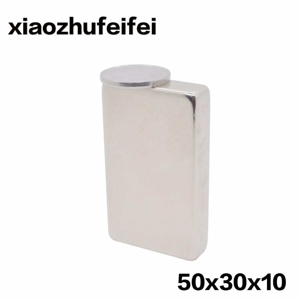 1 PC Volume Grande Strong Faixa Bloco Ímãs de Neodímio Rare Earth 50x30x10mm 50*30*10mm 50mm x 30mm x 10mm