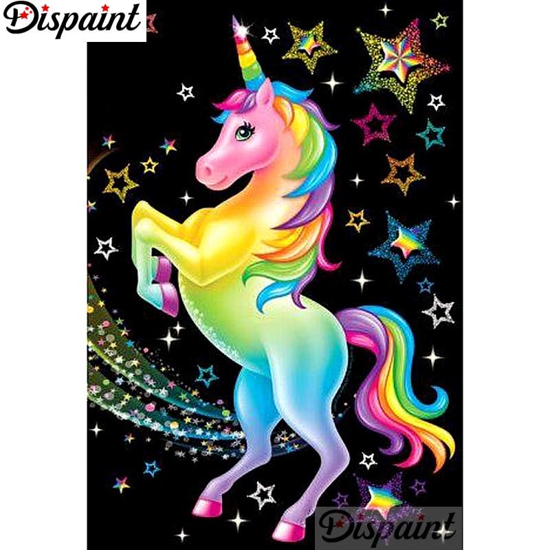 Dispaint Full Square/Round Drill 5D DIY Diamond Painting Cartoon unicorn Embroidery Cross Stitch 3D Home Decor A12408