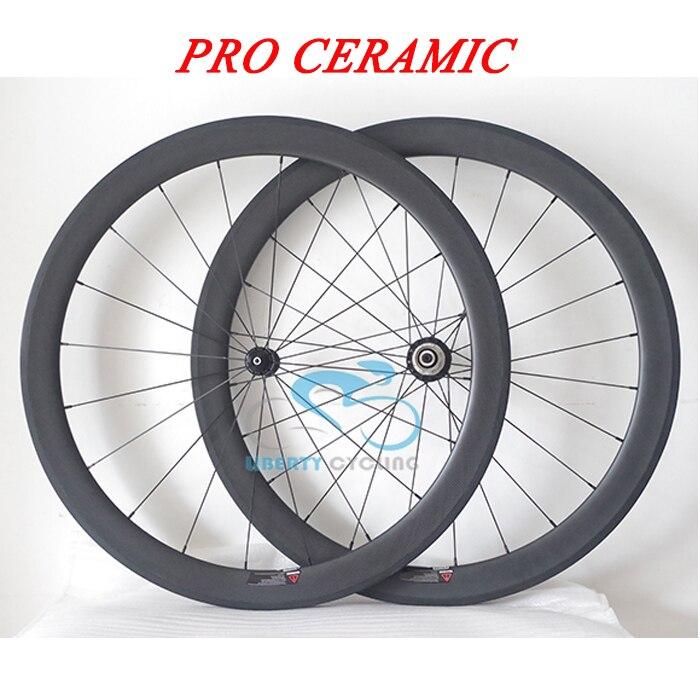 DEERACE Pro Ceramic 50mm 700c Clincher sin tubo carbono camino ruedas de bicicleta con R13/R36/BITEX Hubs, forma V/U