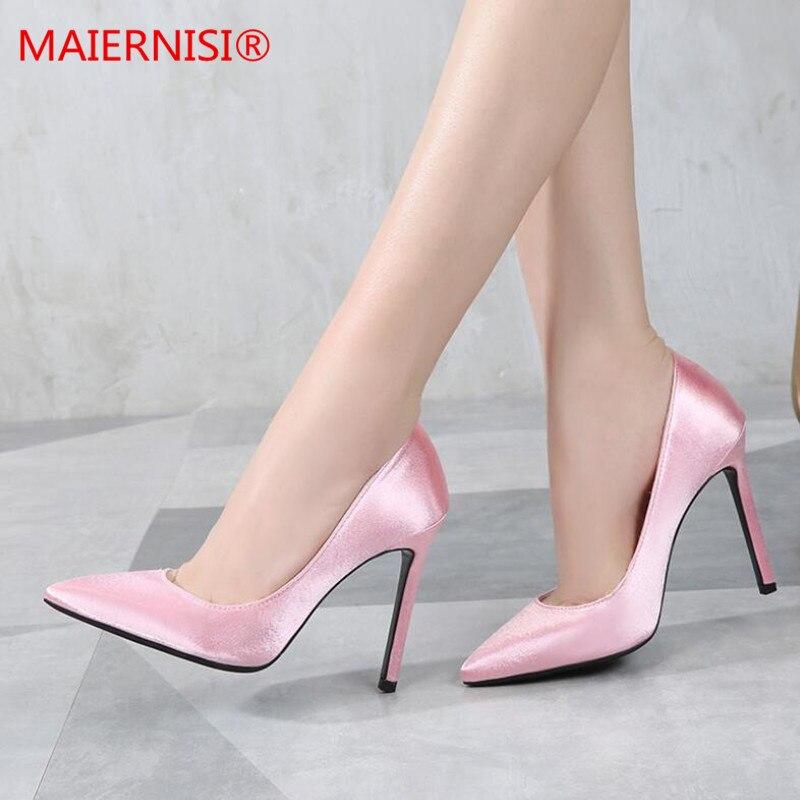 Zapatos de tacón para mujer, de seda de color liso, puntiagudos, poco profundos, a la moda, tacón alto, 11cm, zapatos de boda para mujer, 2019