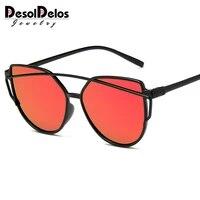 desoldelos 2019 new sexy ladies cat eye sunglasses women fashion clear eyewear metal frame sun glasses for female uv400