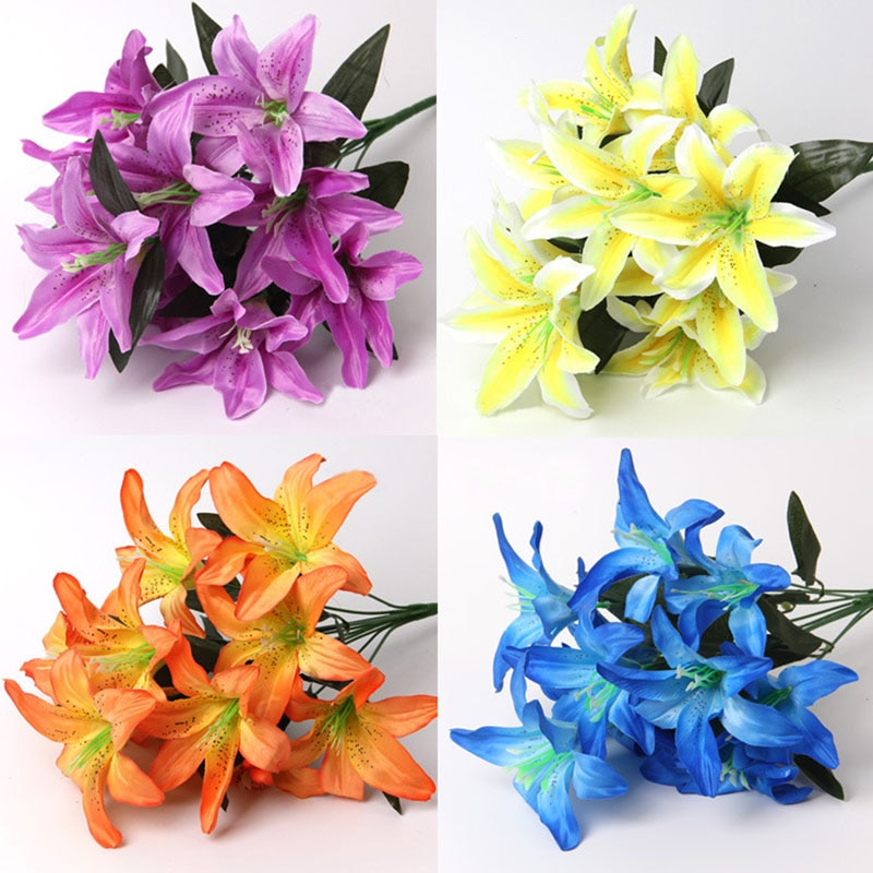 1 букет разноцветных искусственных букет лилий, искусственные цветы для невесты, свадебный венок, украшение для свадьбы